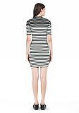 T by ALEXANDER WANG COMPACT COTTON ENGINEERED STRIPE SHORT SLEEVE DRESS Short Dress Adult 8_n_r
