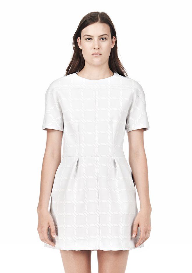 T by ALEXANDER WANG GRID PRINT NEOPRENE SHORT SLEEVE DRESS Short Dress Adult 12_n_d