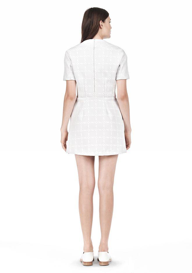 T by ALEXANDER WANG GRID PRINT NEOPRENE SHORT SLEEVE DRESS Short Dress Adult 12_n_r