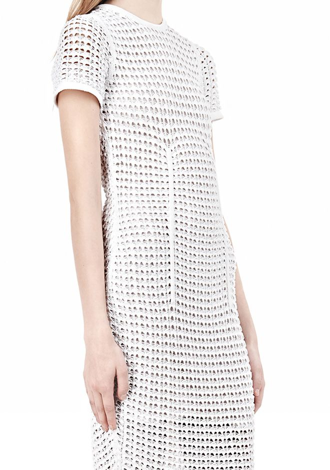 ALEXANDER WANG FITTED CROCHET TEE DRESS KNIT DRESS Adult 12_n_a