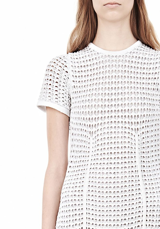 ALEXANDER WANG FITTED CROCHET TEE DRESS KNIT DRESS Adult 12_n_d