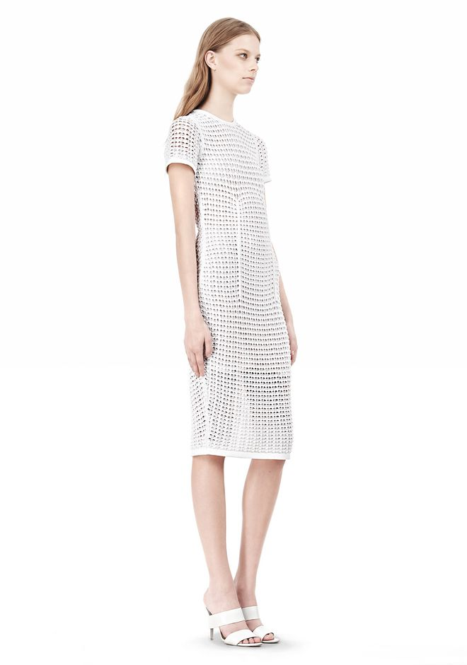 ALEXANDER WANG FITTED CROCHET TEE DRESS KNIT DRESS Adult 12_n_e