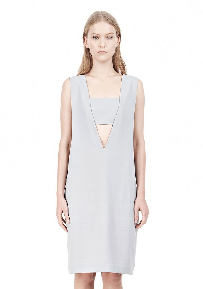 T by ALEXANDER WANG POLY CREPE LOW V-NECK DRESS WITH BANDEAU INSERT Short Dress Adult 12_n_d