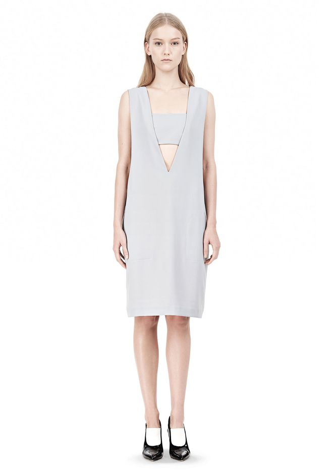 T by ALEXANDER WANG POLY CREPE LOW V-NECK DRESS WITH BANDEAU INSERT Short Dress Adult 12_n_f