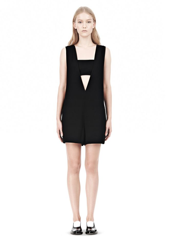 T by ALEXANDER WANG POLY CREPE LOW V-NECK ROMPER WITH BANDEAU INSERT Short Dress Adult 12_n_f