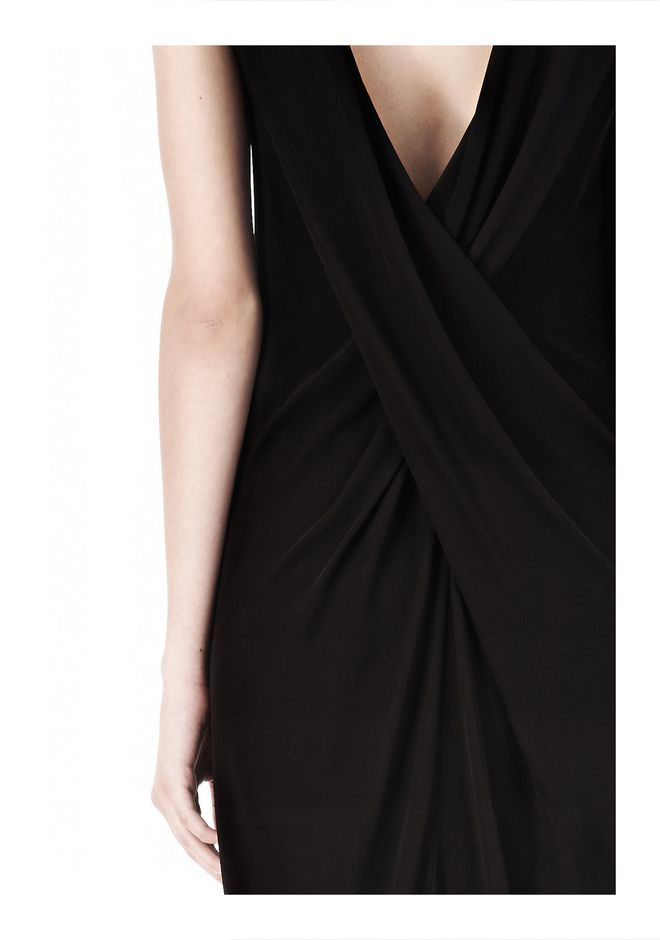 T by ALEXANDER WANG MATTE JERSEY DRESS WITH CRISSCROSS DRAPE BACK Short Dress Adult 12_n_a