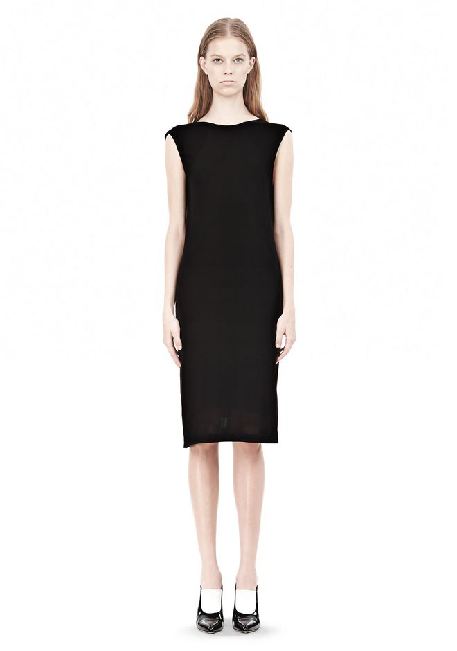 T by ALEXANDER WANG MATTE JERSEY DRESS WITH CRISSCROSS DRAPE BACK Short Dress Adult 12_n_f