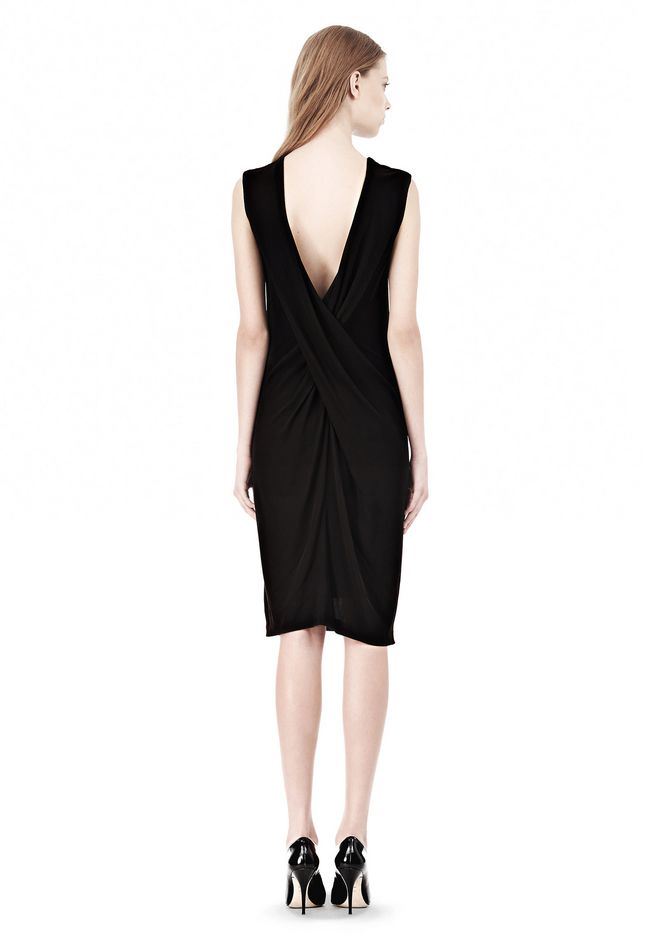 T by ALEXANDER WANG MATTE JERSEY DRESS WITH CRISSCROSS DRAPE BACK Short Dress Adult 12_n_r