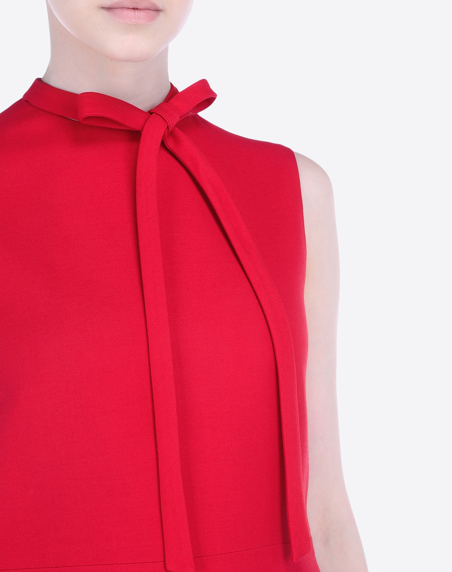 VALENTINO Crêpe Solid color Bow collar Zip Two front pockets Lined interior Sleeveless  34425759qr