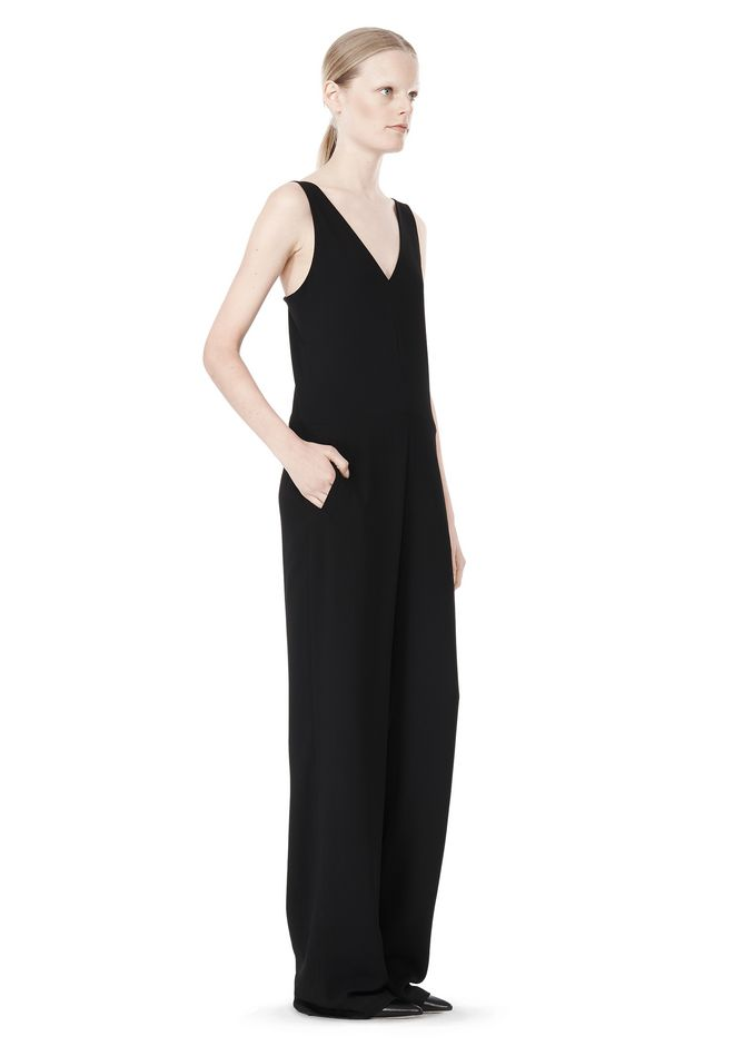T by ALEXANDER WANG POLY CREPE V-NECK STRAP ROMPER Long dress Adult 12_n_e
