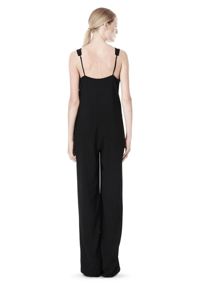 T by ALEXANDER WANG POLY CREPE V-NECK STRAP ROMPER Long dress Adult 12_n_r