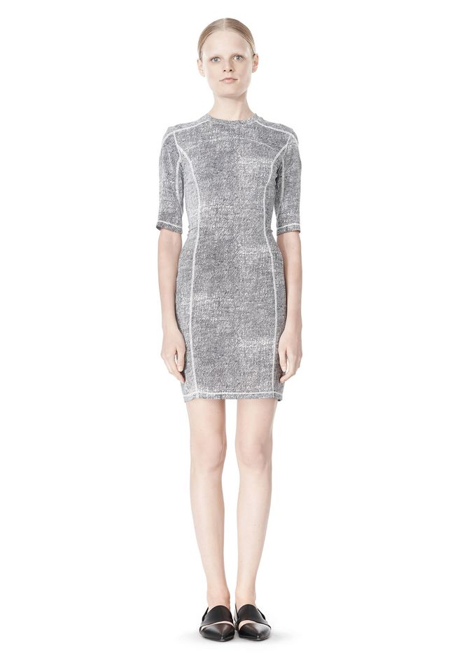 T by ALEXANDER WANG GEORGETTE SHORT SLEEVE SCUBA DRESS Short Dress Adult 12_n_f