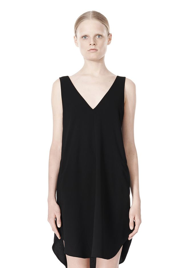 T by ALEXANDER WANG POLY CREPE V-NECK STRAP DRESS Short Dress Adult 12_n_d