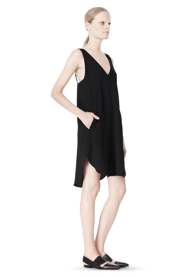 T by ALEXANDER WANG POLY CREPE V-NECK STRAP DRESS Short Dress Adult 12_n_e