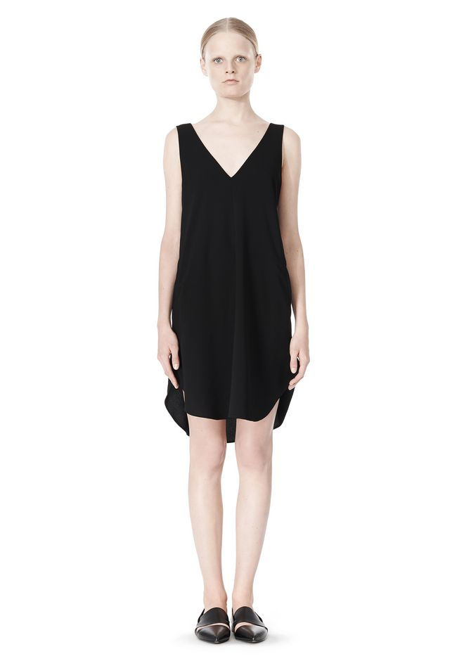 T by ALEXANDER WANG POLY CREPE V-NECK STRAP DRESS Short Dress Adult 12_n_f