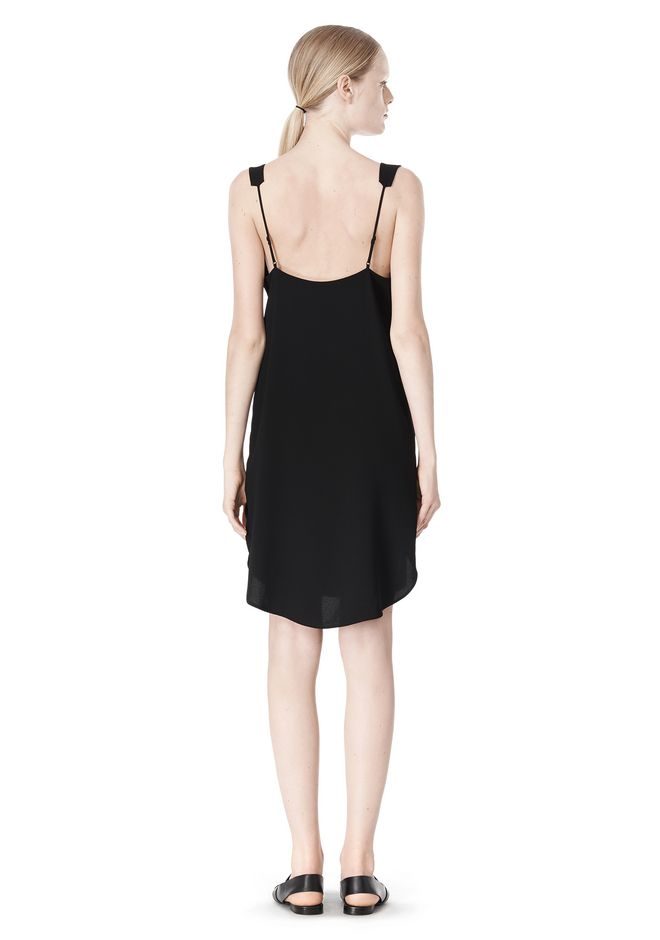 T by ALEXANDER WANG POLY CREPE V-NECK STRAP DRESS Short Dress Adult 12_n_r
