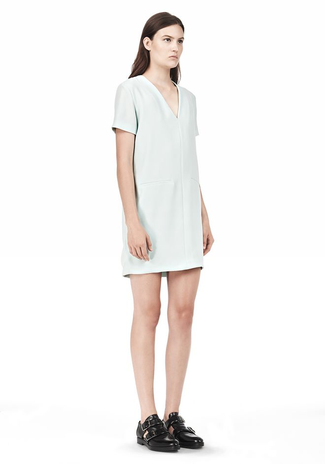 T by ALEXANDER WANG DRAPE SUITING VNECK DRESS Short Dress Adult 12_n_e