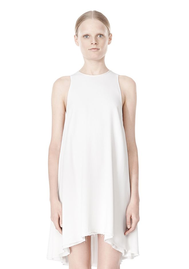 T by ALEXANDER WANG VISCOSE CREPE DRESS WITH LEATHER TRIM Short Dress Adult 12_n_d