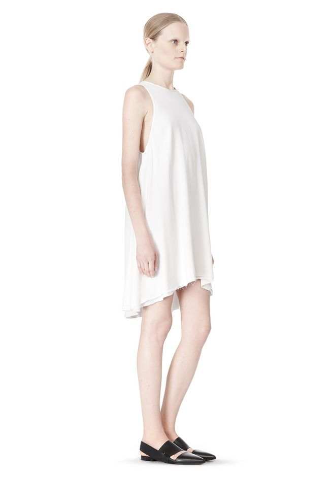 T by ALEXANDER WANG VISCOSE CREPE DRESS WITH LEATHER TRIM Short Dress Adult 12_n_e