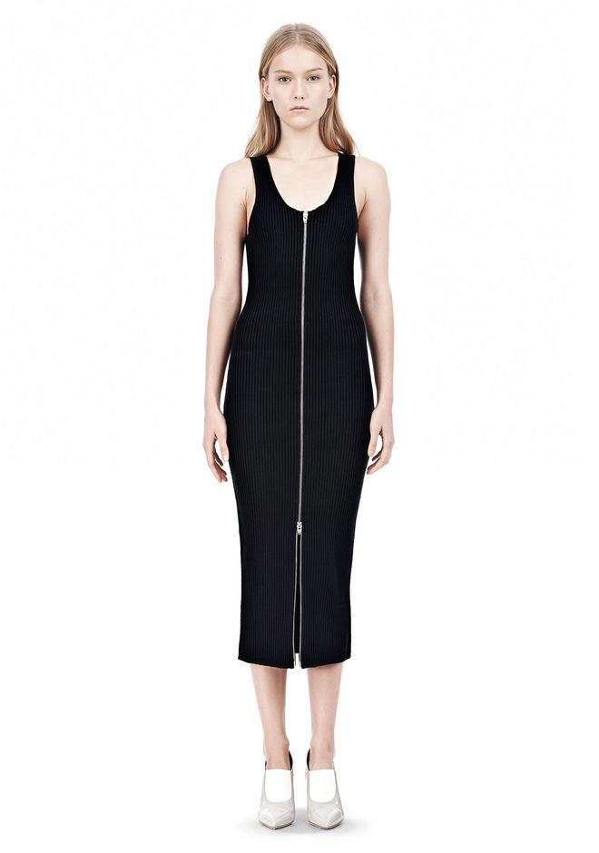 T by ALEXANDER WANG COTTON RIB KNIT TWO-WAY ZIP DRESS KNIT DRESS Adult 12_n_f