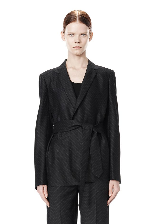 ALEXANDER WANG PINSTRIPE ROBE BLAZER WITH BELT JACKETS AND OUTERWEAR  Adult 12_n_d