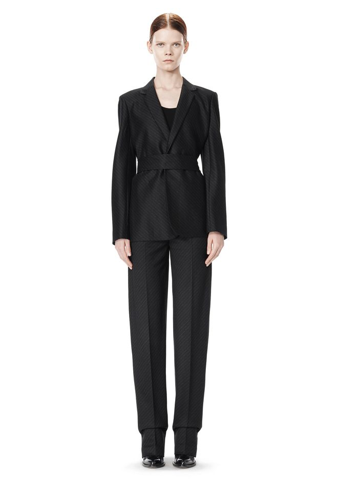 ALEXANDER WANG PINSTRIPE ROBE BLAZER WITH BELT JACKETS AND OUTERWEAR  Adult 12_n_f