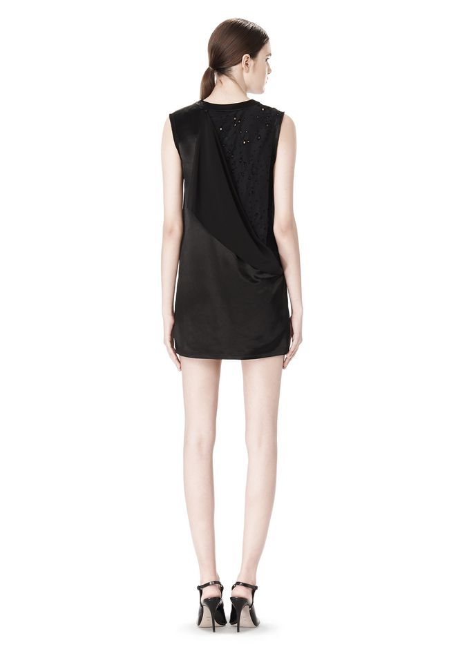 ALEXANDER WANG DRESS WITH EXPOSED DISTRESSED BACK 3/4 length dress Adult 12_n_r