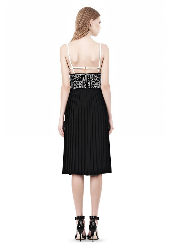 ALEXANDER WANG CAMISOLE DRESS WITH LOGO EYELET EMBROIDERY 3/4 length dress Adult 12_n_r