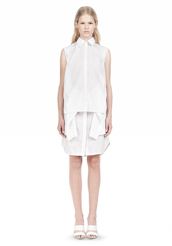 ALEXANDER WANG DOUBLE SLEEVE POPLIN SHIRTDRESS  Short Dress Adult 12_n_f
