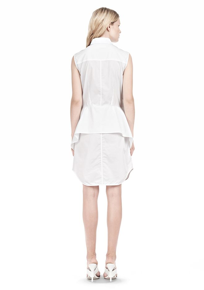 ALEXANDER WANG DOUBLE SLEEVE POPLIN SHIRTDRESS  Short Dress Adult 12_n_r