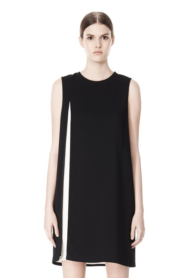 ALEXANDER WANG DOUBLE LAYER DRESS WITH CONTRAST SLIT Short Dress Adult 12_n_d