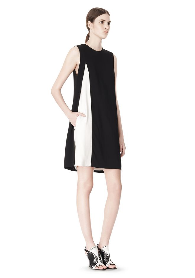 ALEXANDER WANG DOUBLE LAYER DRESS WITH CONTRAST SLIT Short Dress Adult 12_n_e