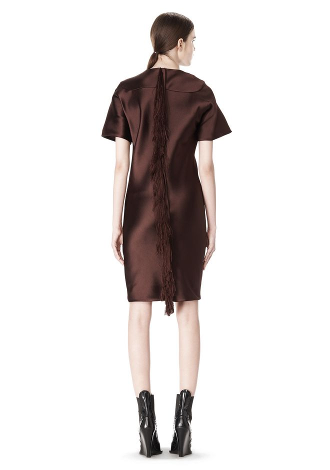 ALEXANDER WANG EXCLUSIVE T-SHIRT DRESS WITH FRINGE Short Dress Adult 12_n_e