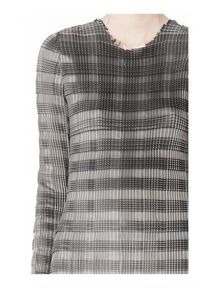 ALEXANDER WANG PLEATED DRESS WITH RAW EDGE Short Dress Adult 12_n_a