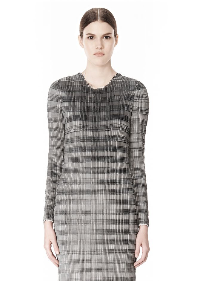 ALEXANDER WANG PLEATED DRESS WITH RAW EDGE Short Dress Adult 12_n_d