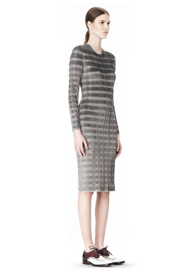 ALEXANDER WANG PLEATED DRESS WITH RAW EDGE Short Dress Adult 12_n_e