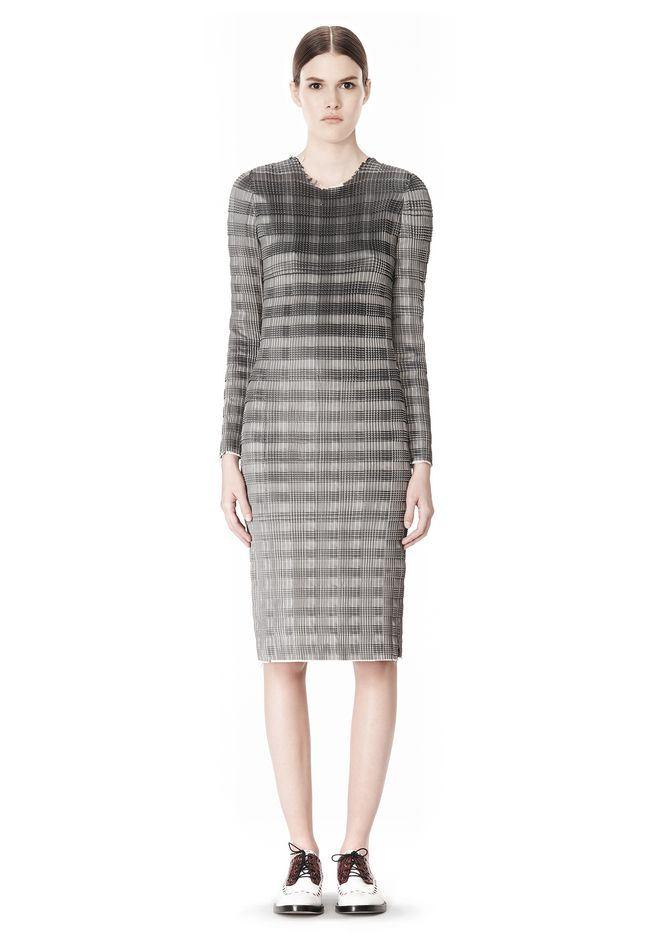 ALEXANDER WANG PLEATED DRESS WITH RAW EDGE Short Dress Adult 12_n_f