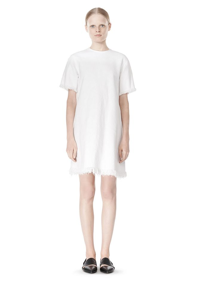 T by ALEXANDER WANG COTTON CREWNECK DRESS WITH FRAYED HEM Short Dress Adult 12_n_f