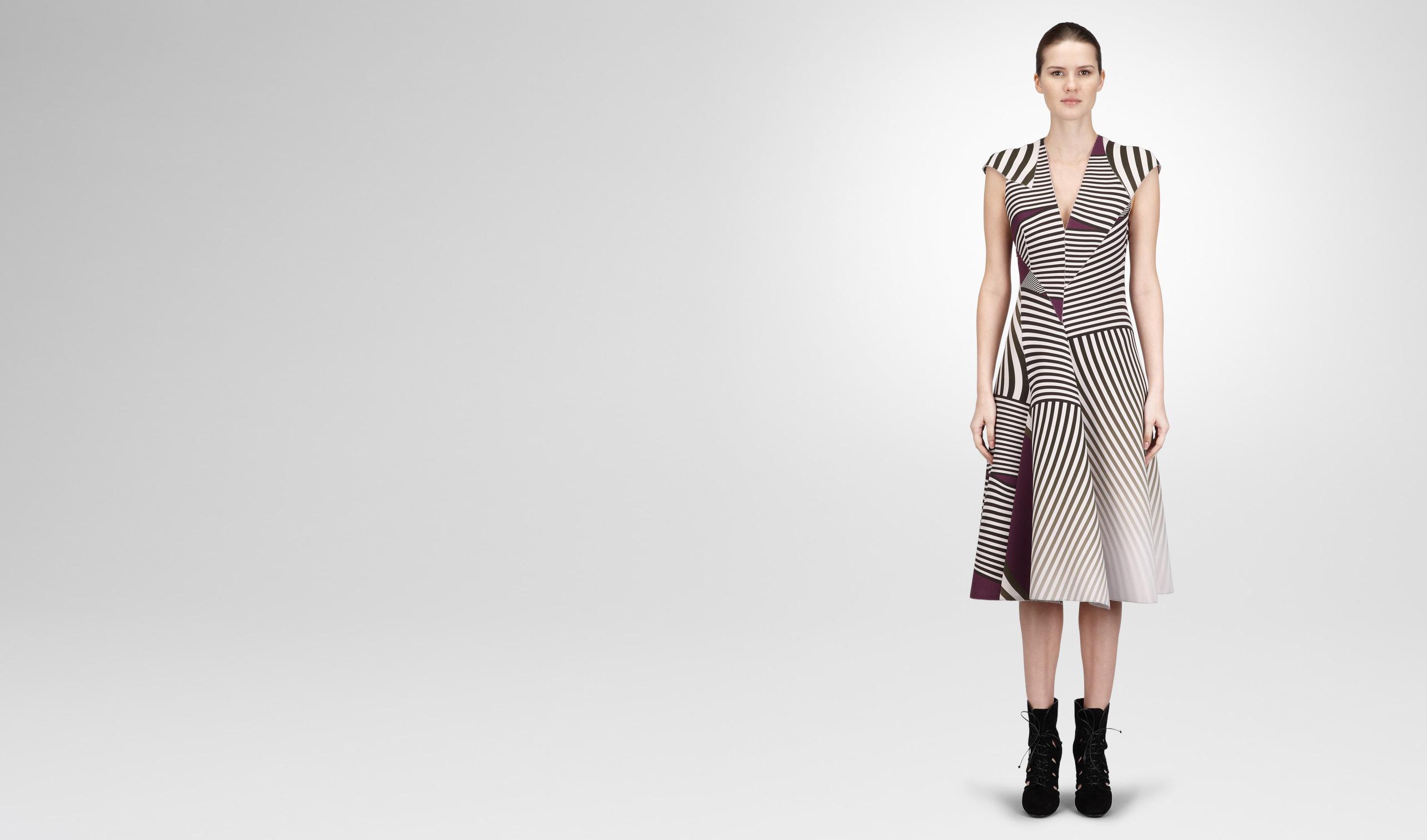BOTTEGA VENETA Dress D DARK MIST NERO MONALISA OPTICAL PRINT TECHNICAL CREPE DRESS pl