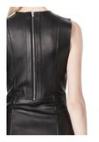 T by ALEXANDER WANG RAW EDGE SLEEVELESS LEATHER SHIFT DRESS Short Dress Adult 8_n_a