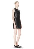 T by ALEXANDER WANG RAW EDGE SLEEVELESS LEATHER SHIFT DRESS Short Dress Adult 8_n_e