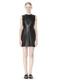 T by ALEXANDER WANG RAW EDGE SLEEVELESS LEATHER SHIFT DRESS Short Dress Adult 8_n_f
