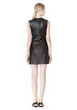 T by ALEXANDER WANG RAW EDGE SLEEVELESS LEATHER SHIFT DRESS Short Dress Adult 8_n_r