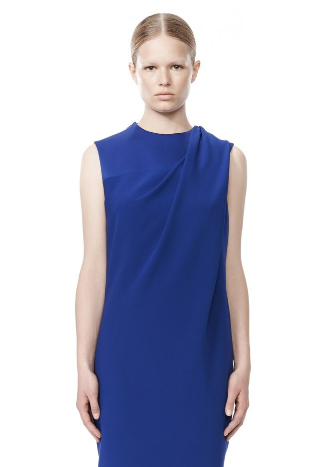 ALEXANDER WANG EXCLUSIVE DRAPED CREW NECK DRESS WITH SATIN YOKE Short Dress Adult 12_n_d