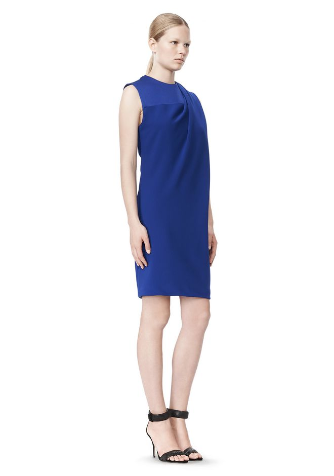 ALEXANDER WANG EXCLUSIVE DRAPED CREW NECK DRESS WITH SATIN YOKE Short Dress Adult 12_n_e