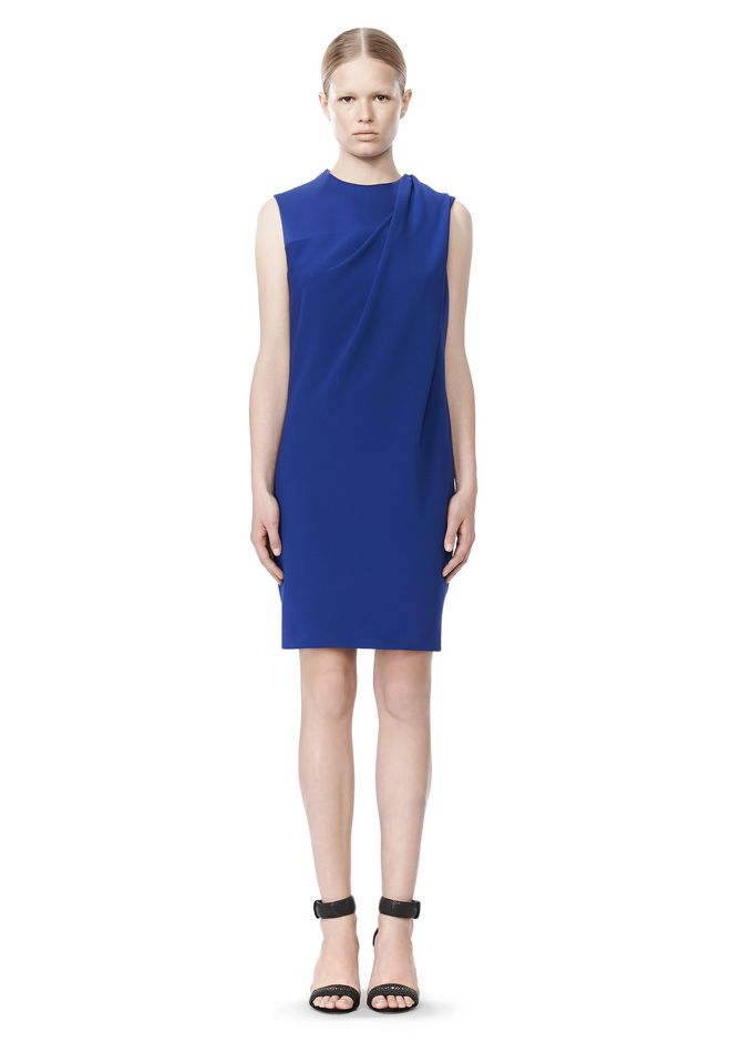 ALEXANDER WANG EXCLUSIVE DRAPED CREW NECK DRESS WITH SATIN YOKE Short Dress Adult 12_n_f