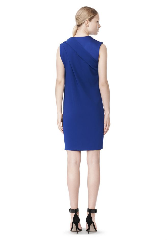 ALEXANDER WANG EXCLUSIVE DRAPED CREW NECK DRESS WITH SATIN YOKE Short Dress Adult 12_n_r