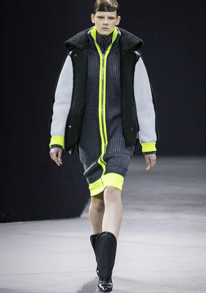 ALEXANDER WANG TRACK DRESS WITH CONTRAST HEM KNIT DRESS Adult 12_n_a