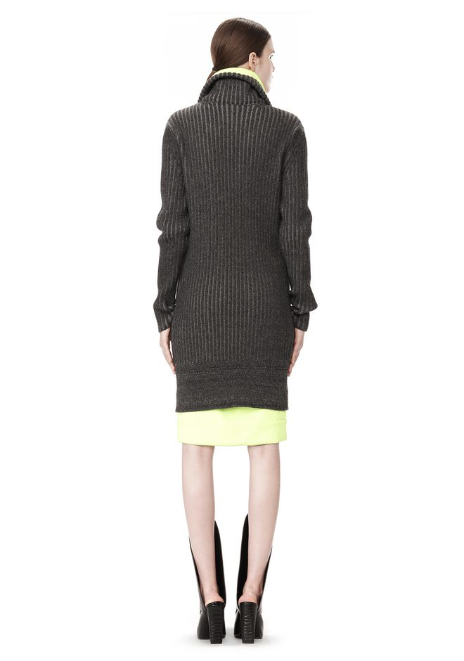 ALEXANDER WANG TRACK DRESS WITH CONTRAST HEM KNIT DRESS Adult 12_n_r
