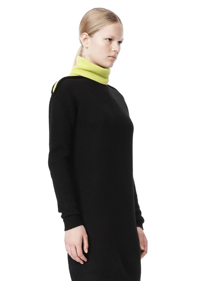 ALEXANDER WANG SPLITTABLE TURTLENECK DRESS KNIT DRESS Adult 12_n_a